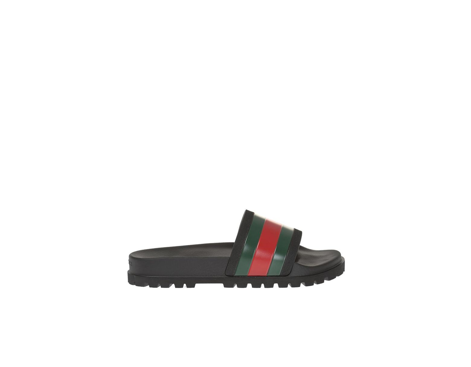 7ad50e800 Gucci Striped Web Rubber Slides in Black for Men - Save 64% - Lyst