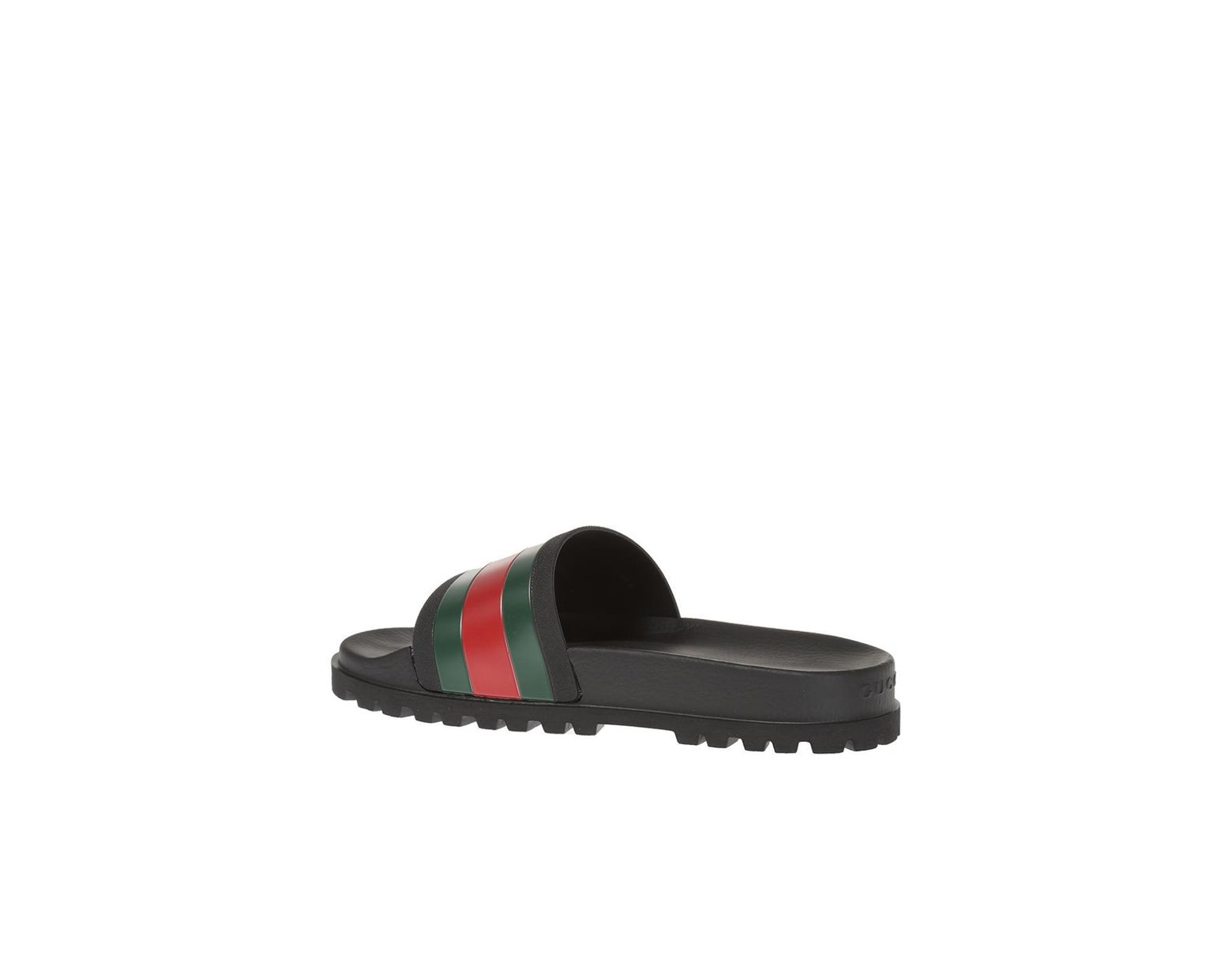 807fdae42d6 Lyst - Gucci Striped Web Rubber Slides in Black for Men - Save 30%
