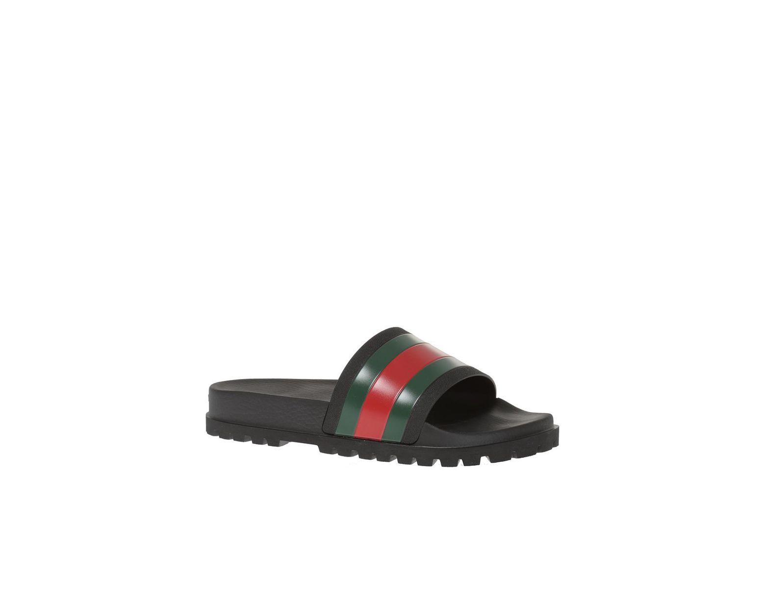 21b79111086 Lyst - Gucci Striped Web Rubber Slides in Black for Men - Save 30%