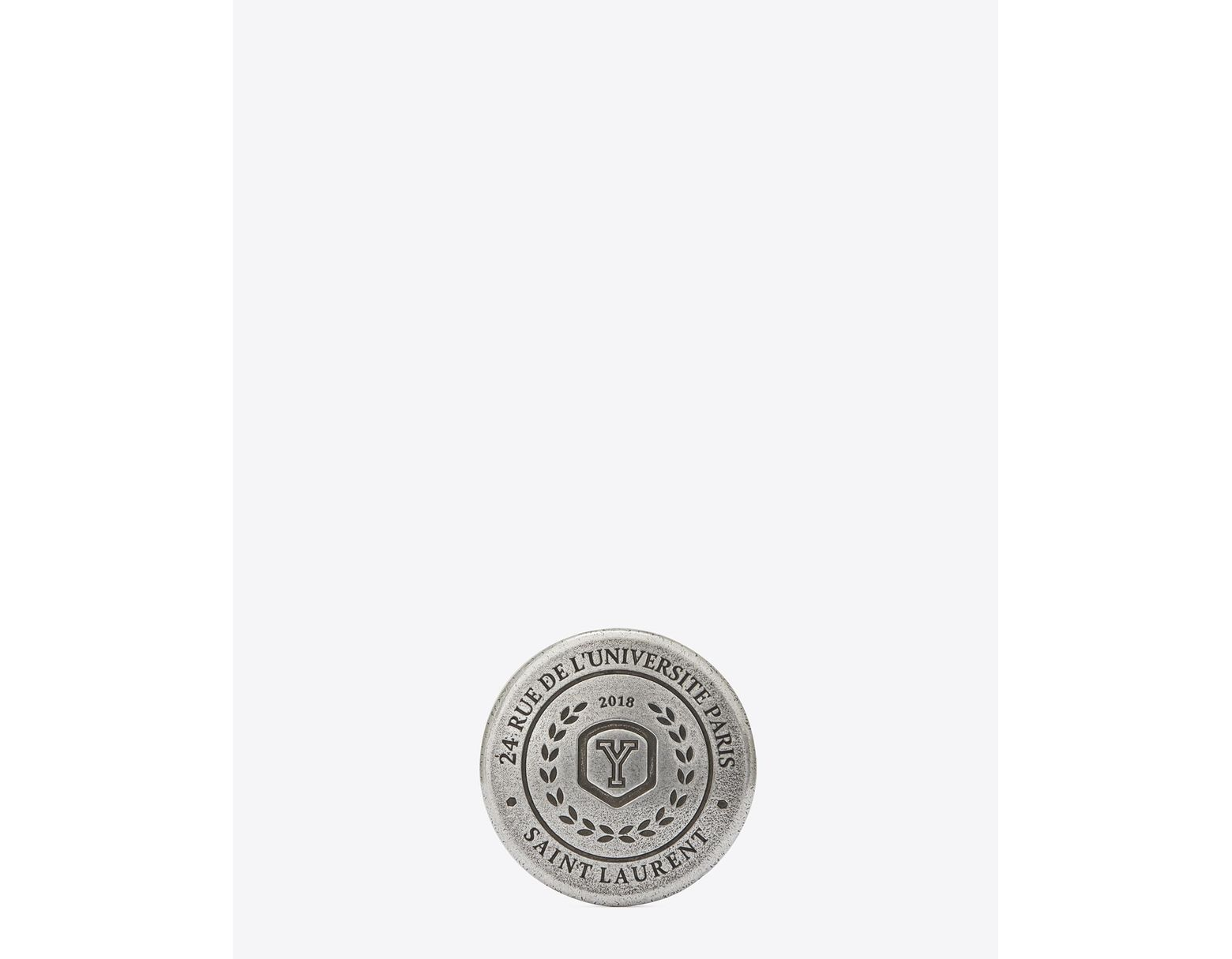 acfaf57b46a Saint Laurent Love Pins University Badge In Silver-toned Tin in Metallic -  Lyst