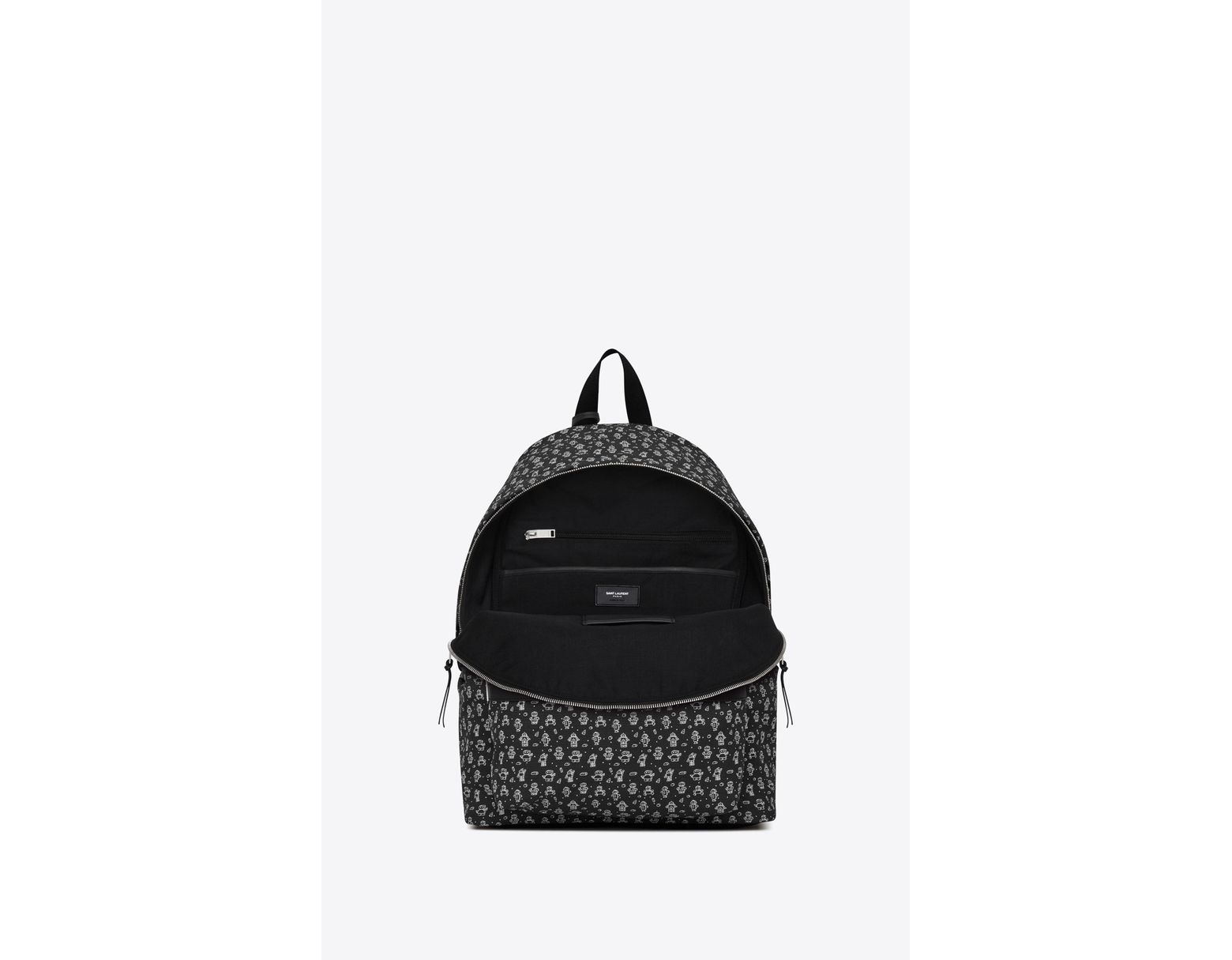 81a7639928 Saint Laurent City Canvas Backpack With Robot Print in Black for Men ...