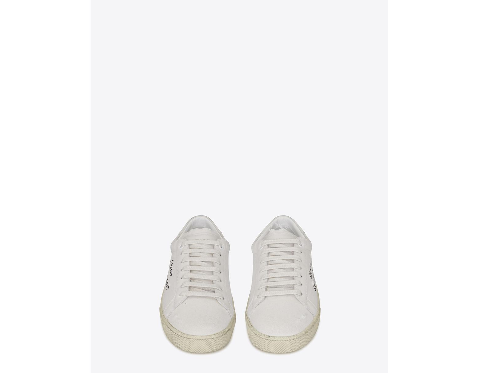fa11cefe204 Saint Laurent Court Sl/06 Sneakers Embroidered With , In White Worn-look  Fabric And Leather in White for Men - Lyst