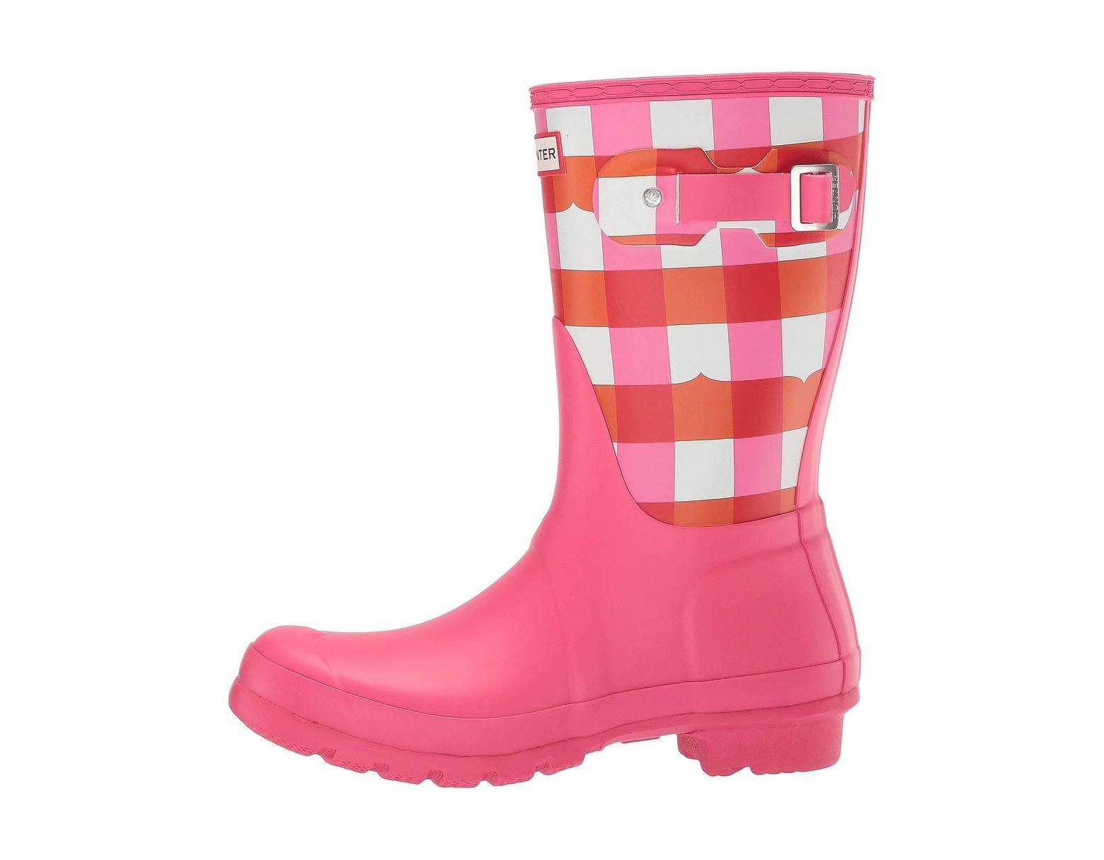 6610cc1a2104 Lyst - HUNTER Original Short Gingham (arcade Pink) Women s Rain Boots in  Pink