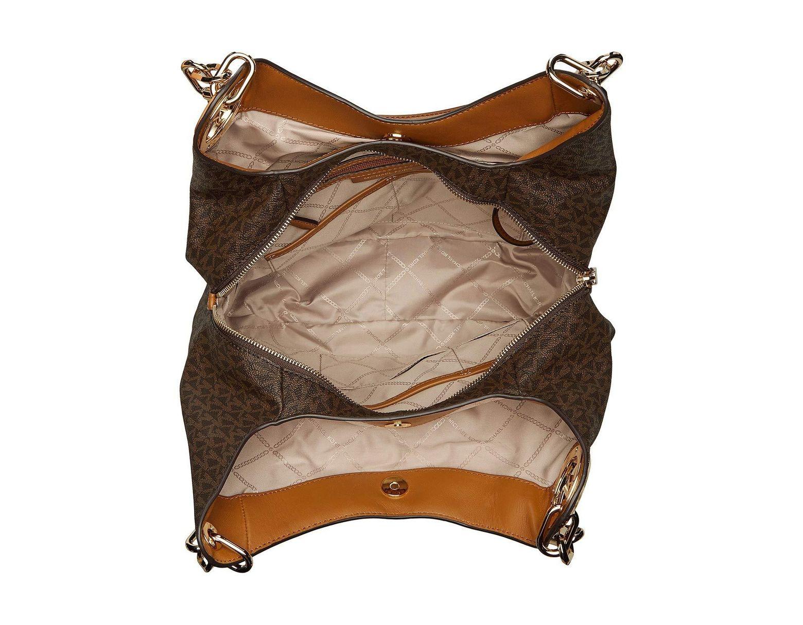 af9534bd165c MICHAEL Michael Kors Lillie Large Chain Shoulder Tote (vanilla/acorn) Tote  Handbags in Brown - Lyst