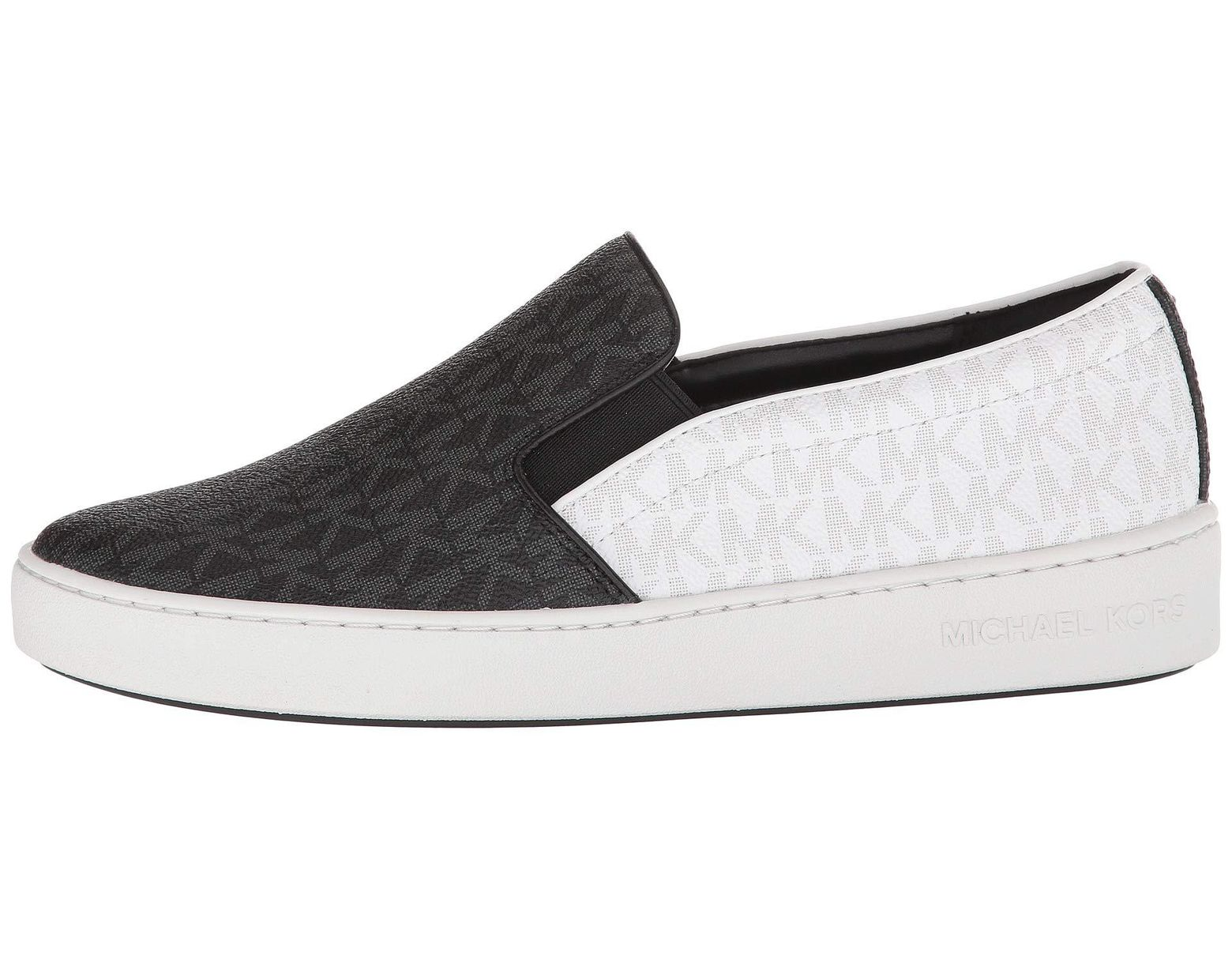 4c9988e5a9d2 Lyst - MICHAEL Michael Kors Keaton Slip-on (black Mini Mk Logo Coated Canvas suprema  Nappa Sport) Women s Slip On Shoes in Black
