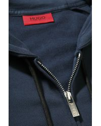 HUGO - Blue Iconic Item Dalti Hooded Sweatshirt Jacket for Men - Lyst