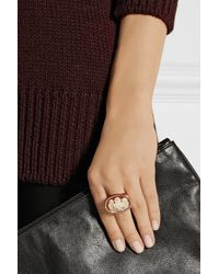 Amedeo - Pink Rose Gold-plated Carnelian Shell Monkey Cameo Ring - Lyst