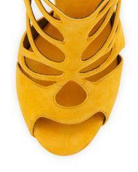 Giuseppe Zanotti - Yellow Suede Caged High-Heel Sandal - Lyst