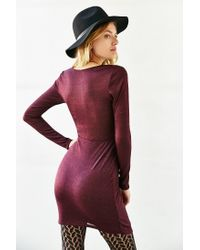Silence + Noise - Red Shimmer Wrap Bodycon Dress - Lyst
