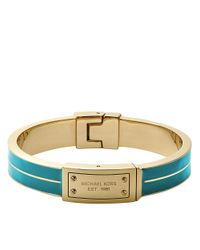 Michael Kors - Metallic Gold-Tone & Turquoise Bangle Bracelet - Lyst