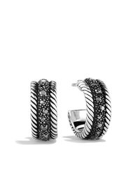 David Yurman | Metallic Midnight Melange Hoop Earrings | Lyst