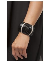 Kenneth Jay Lane - Black Frieda Stretch Cuff Bracelet - Lyst