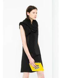 Mango - Black Textured Panel Dress - Lyst