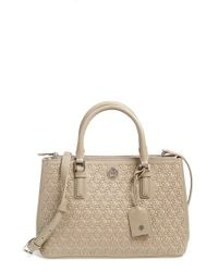 Tory Burch - Gray 'robinson - Mini' Perforated Leather Double Zip Tote - Lyst