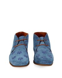 Tomas Maier - Blue Palm-Tree Embellished Suede Desert Boots for Men - Lyst
