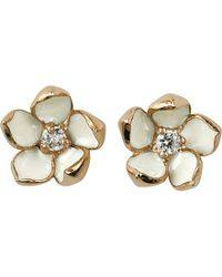 Shaun Leane | Metallic Cherry Blossom Rose-gold Vermeil, Ivory Enamel And Diamond Stud Earrings Small | Lyst