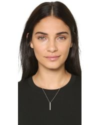 EF Collection | Metallic Vertical Diamond Bar Necklace - Gold/clear | Lyst