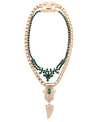 Mawi | Green Layered Crystal Deco Necklace | Lyst