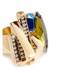 Iosselliani - Metallic Decò Crystal Ring - Lyst