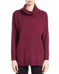 Eileen Fisher | Purple Merino Wool Turtleneck Sweater | Lyst