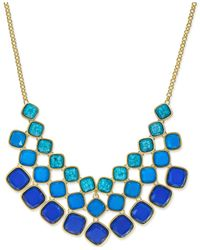 ABS By Allen Schwartz - Gold-tone Blue Stone Collar Necklace - Lyst