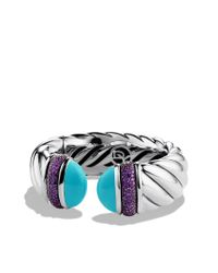 David Yurman | Blue Waverly Bracelet with Turquoise and Amethyst | Lyst