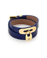 Michael Kors | Blue Cityscape Hardware Padlock Crocodile-Embossed Leather Double-Wrap Bracelet | Lyst