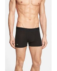 Lacoste | Black Pique Cotton-Blend Trunks for Men | Lyst
