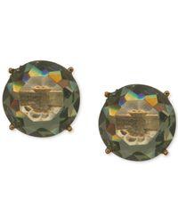 Anne Klein - Gold-tone Green Round Stone Stud Earrings - Lyst
