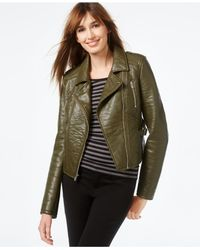 RACHEL Rachel Roy | Green Faux-leather Cropped Moto Jacket | Lyst