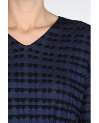 Emporio Armani | Blue Sweater In Jacquard With Drawstring Waist | Lyst