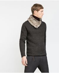 Zara   Gray Sweater With Faux Fur Collar for Men   Lyst