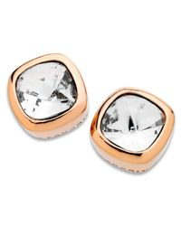 T Tahari | Pink 14k Rose Gold-plated Cushion-cut Crystal Stud Earrings | Lyst