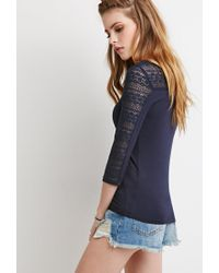 Forever 21 - Blue Floral Lace-paneled Cutout Top - Lyst