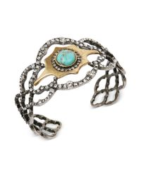 Lucky Brand | Metallic Twotone Crystal and Turquoise Lattice Cuff Bracelet | Lyst