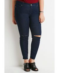Forever 21 | Blue Plus Size Ripped Skinny Jeans | Lyst