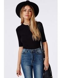 Missguided - Ribbed Mid Sleeve Crop Top Black - Lyst