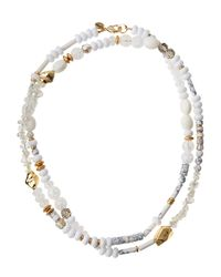 Lydell NYC - White Single-strand Beaded Necklace - Lyst