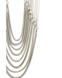 BCBGMAXAZRIA - White Fauxleather Strap and Chain Necklace - Lyst