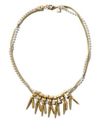 Banana Republic | Metallic Mixed-metal Spike Focal Necklace | Lyst