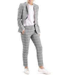 TOPSHOP - Gray Check Slim Fit Blazer - Lyst