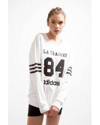 Adidas - White La Trainer Sweatshirt - Lyst