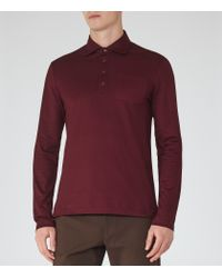 Reiss - Purple Santi Pique Cotton Polo Shirt for Men - Lyst