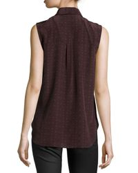 Jason Wu - Purple Sleeveless Geometric-print Silk Shell - Lyst