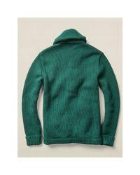 RRL - Green Wool Shawl-collar Cardigan for Men - Lyst