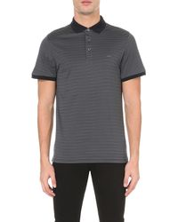 Michael Kors | Blue Striped Cotton-jersey Polo Shirt for Men | Lyst