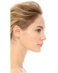 kate spade new york - Metallic Owl Stud Earrings - Clear - Lyst