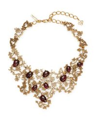 Oscar de la Renta | Metallic Filigree Statement Necklace | Lyst