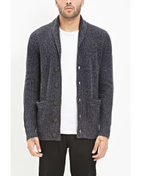 Forever 21 | Blue Shawl Collar Marled Cardigan for Men | Lyst