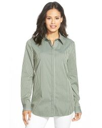 Lafayette 148 New York | Green 'brody - Palace Stripe' Blouse | Lyst